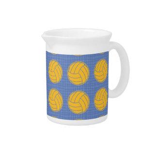 Yellow balls on blue background beverage pitchers