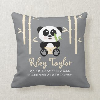 Yellow Bamboo Panda Baby Announcement Pillow