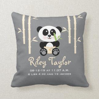 Yellow Bamboo Panda Baby Announcement Pillow