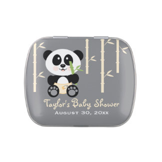 Yellow Bamboo Panda Baby Shower Favor Jelly Belly Candy Tin