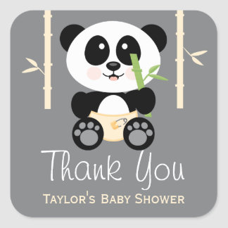 Yellow Bamboo Panda Baby Shower Thank You Stickers