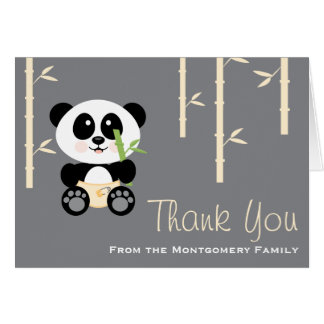 Yellow Bamboo Panda Diapers Baby Shower Thank You Card