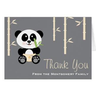 Yellow Bamboo Panda Diapers Baby Shower Thank You Card