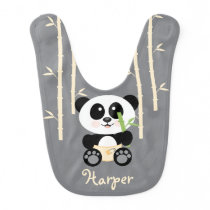 YELLOW BAMBOO PANDA IN DIAPERS BABY BIB