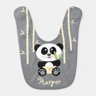 YELLOW BAMBOO PANDA IN DIAPERS BABY BIB