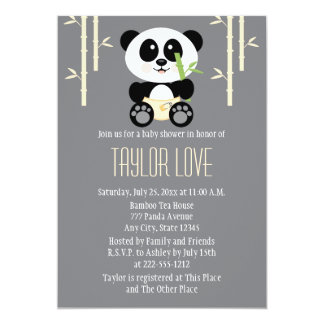 Yellow Bamboo Panda in Diapers Baby Shower 5x7 Paper Invitation Card