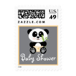 Yellow Bamboo Panda in Diapers Baby Shower Stamp