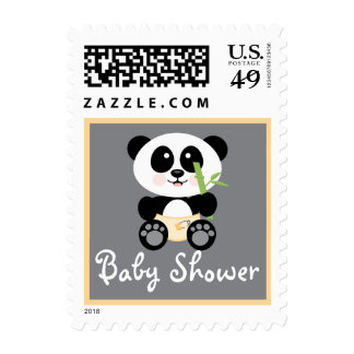 Yellow Bamboo Panda in Diapers Baby Shower Stamp