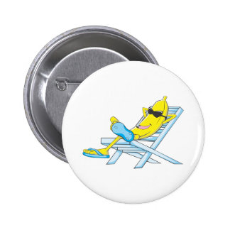 Yellow Banana Relax Sit on Beach Lounge Chair 2 Inch Round Button