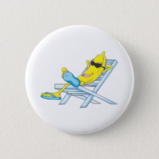 Yellow Banana Relax Sit On Beach Lounge Chair Pinback Button