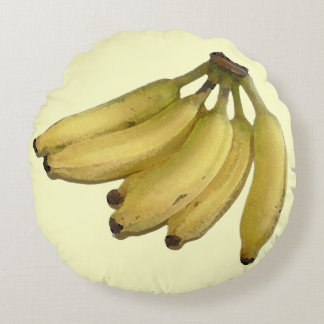 yellow banana tropical-decor round pillow