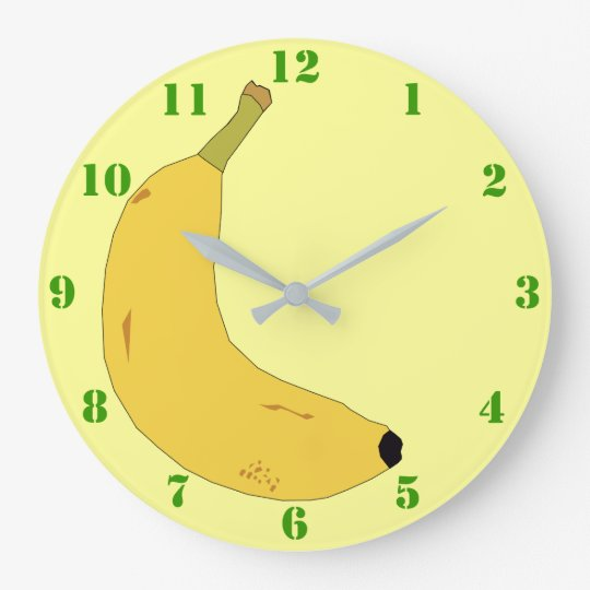 YELLOW BANANA WITH GREEN NUMERALS LARGE CLOCK