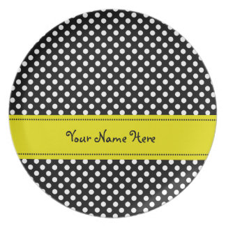 Yellow Band Black and White Polka Dots Melamine Plate