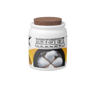 yellow banner cotton is king candy jars