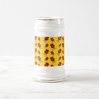 yellow barbeque pattern 18 oz beer stein
