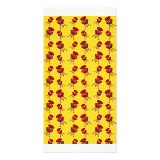 yellow barbeque pattern photo card template