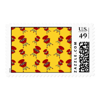 yellow barbeque pattern postage