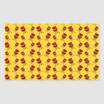 yellow barbeque pattern rectangular sticker
