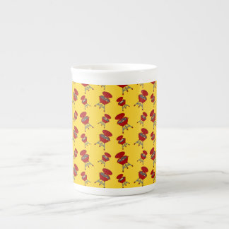 yellow barbeque pattern bone china mug