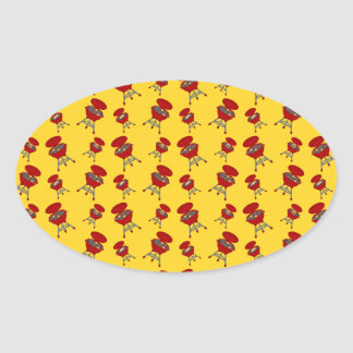 yellow barbeque pattern oval sticker