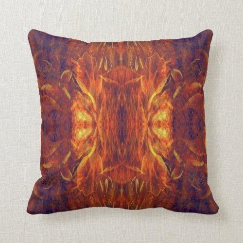 Yellow Baroque Cool Abstract Retro Throw Pillow
