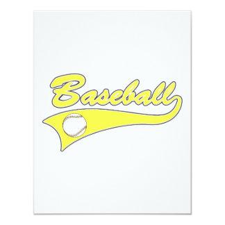 Yellow Baseball Logo 4.25x5.5 Paper Invitation Card
