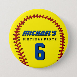 Yellow Baseball Sports Kids Birthday Party Button