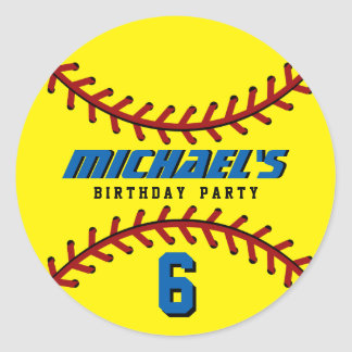 Yellow Baseball Sticker Sports Kids Birthday Party