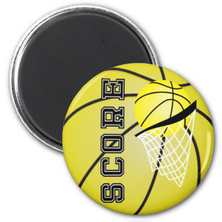 Yellow Basketball 2 Inch Round Magnet