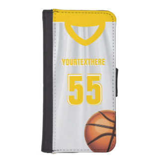 Yellow BasketBall Dress Name Number iPhone SE/5/5s Wallet Case