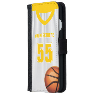 Yellow BasketBall Dress Name Number Wallet Phone Case For iPhone 6/6s