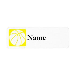 Yellow basketball label