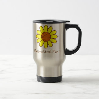 Yellow Basketball Mom 15 Oz Stainless Steel Travel Mug