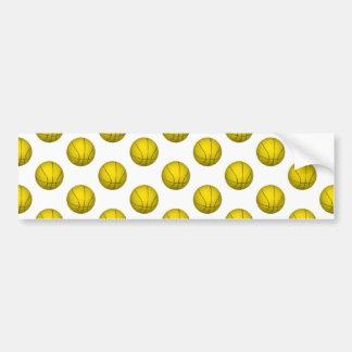 Yellow Basketball Pattern Bumper Sticker