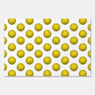 Yellow Basketball Pattern Yard Sign