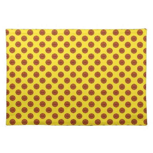 Yellow Basketball Polka Dots Placemats