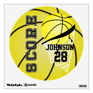 Yellow Basketball Score Wall Decal