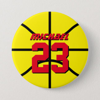 Yellow Basketball Sports Team Button Pin