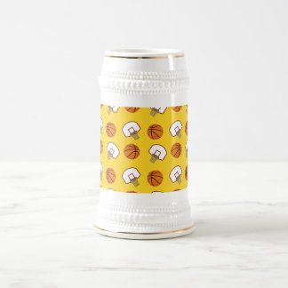 Yellow basketballs and nets pattern 18 oz beer stein