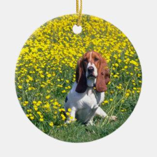 yellow Basset hound flowers Ornaments