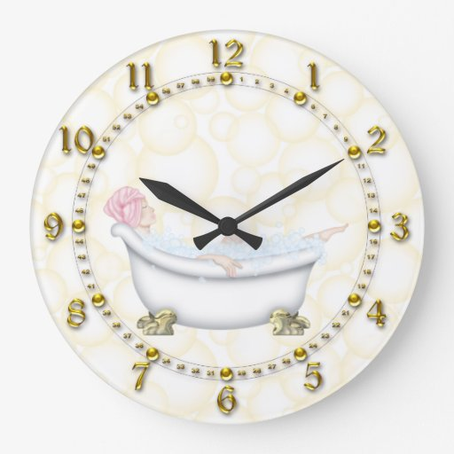 Yellow bathroom bubbles wall clocks zazzle for A bathroom item that starts with e