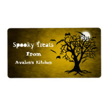 Yellow Bats Halloween Treats Baking Label Shipping Label
