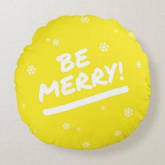Yellow Be Merry Marker Pen Christmas Snowflake Round Pillow