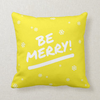 Yellow Be Merry Marker Pen Holiday Snowflake Throw Pillow