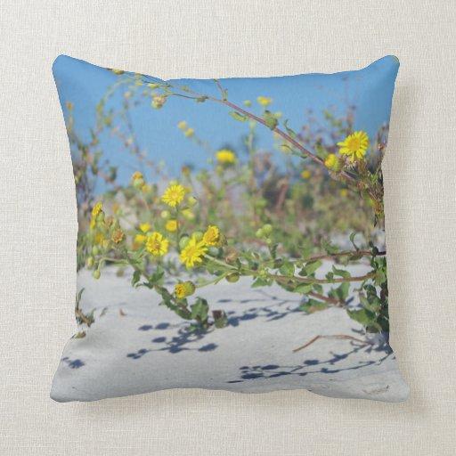 Yellow Beach Throw Pillows : Yellow Beach Flowers Throw Pillow Zazzle