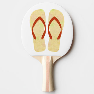 Yellow Beach Party Flip Flops Summer Games Ping-Pong Paddle