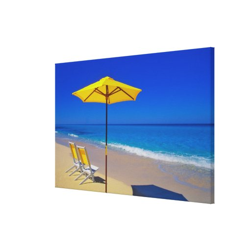 Yellow beach umbrella and chairs on pristine gallery wrap canvas