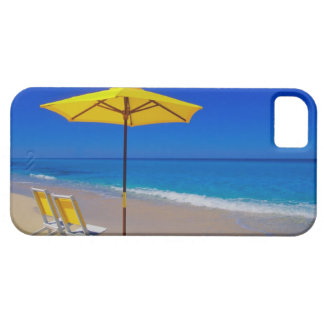 Yellow beach umbrella and chairs on pristine iPhone 5 cover