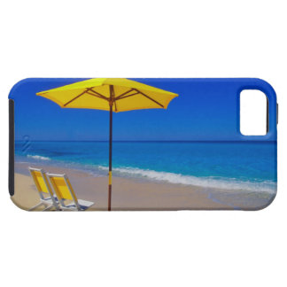 Yellow beach umbrella and chairs on pristine iPhone 5 case