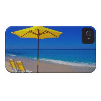 Yellow beach umbrella and chairs on pristine iPhone 4 case